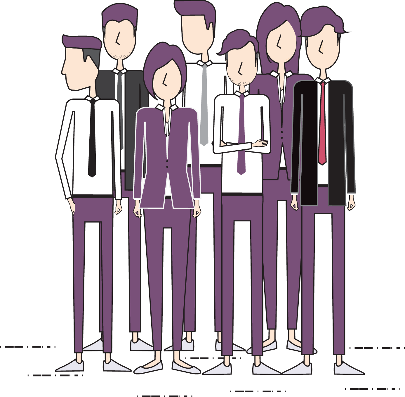 Image of 7 People in Purple Outfits