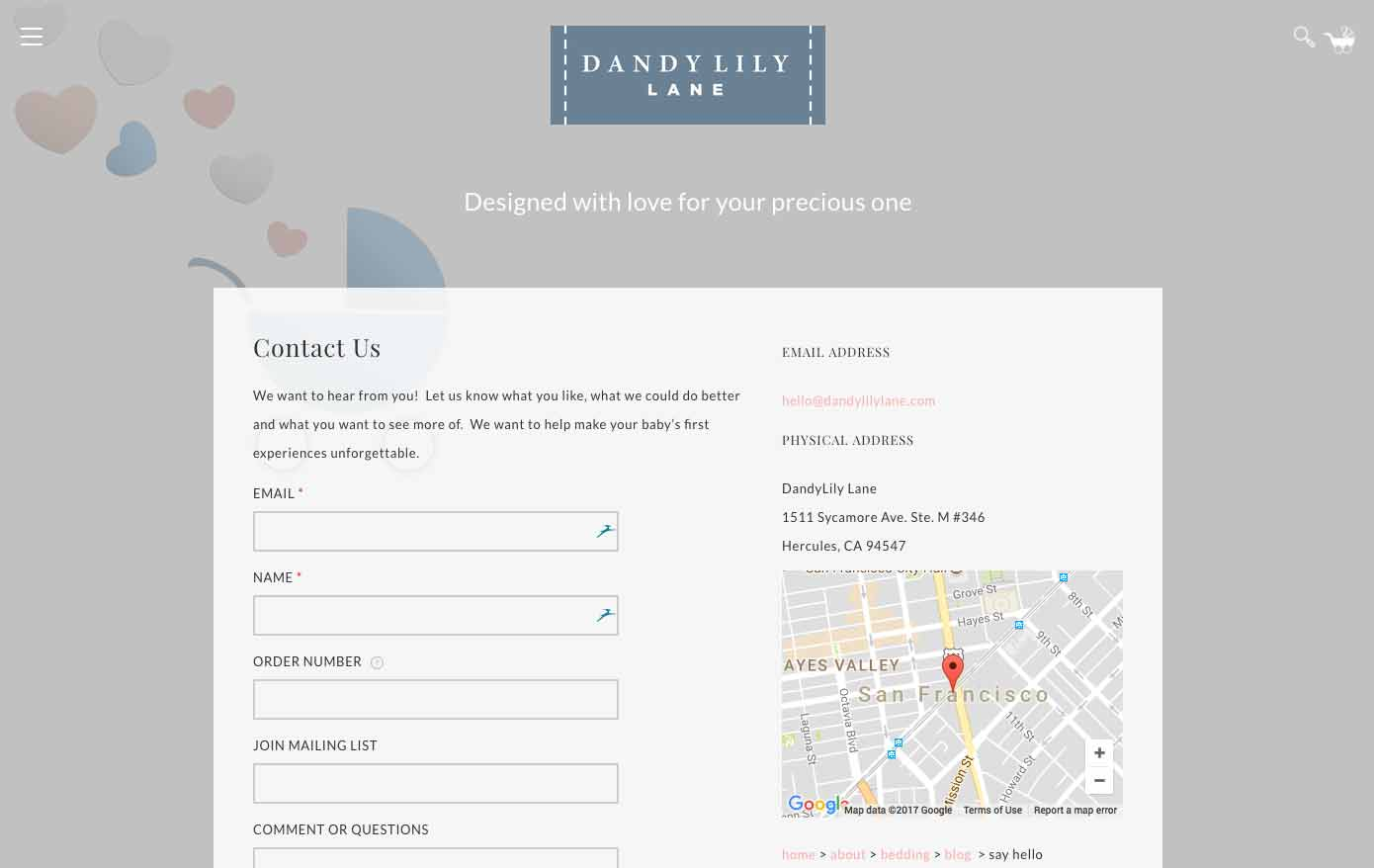 Dandy Lily Lane Contact Us Page