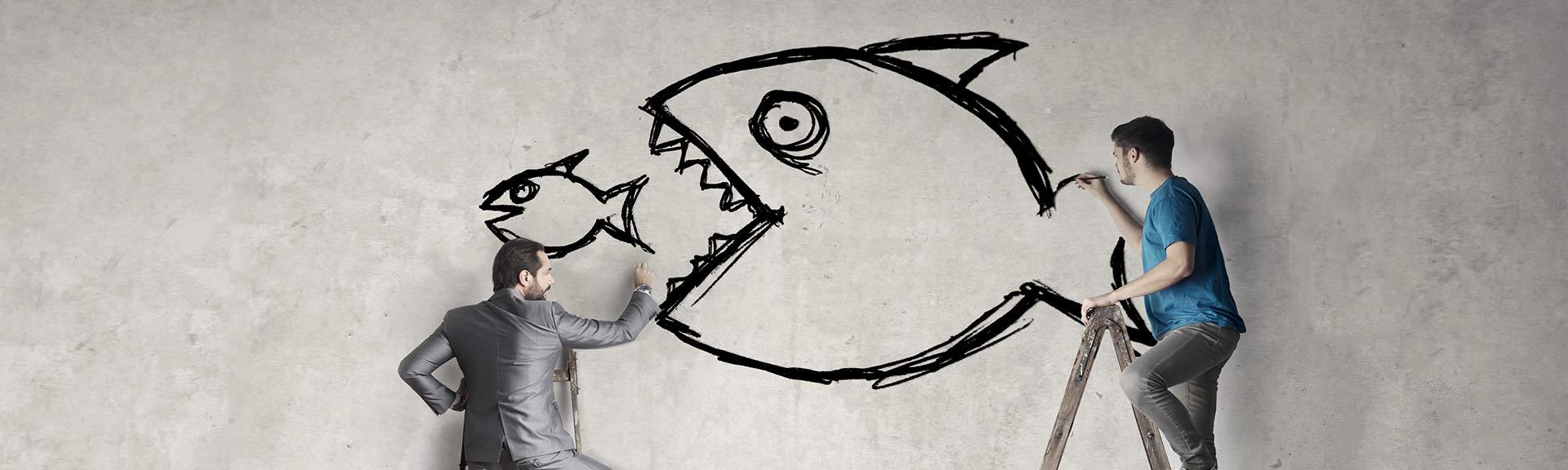 Digital Marketing Shark Eats Small Fish