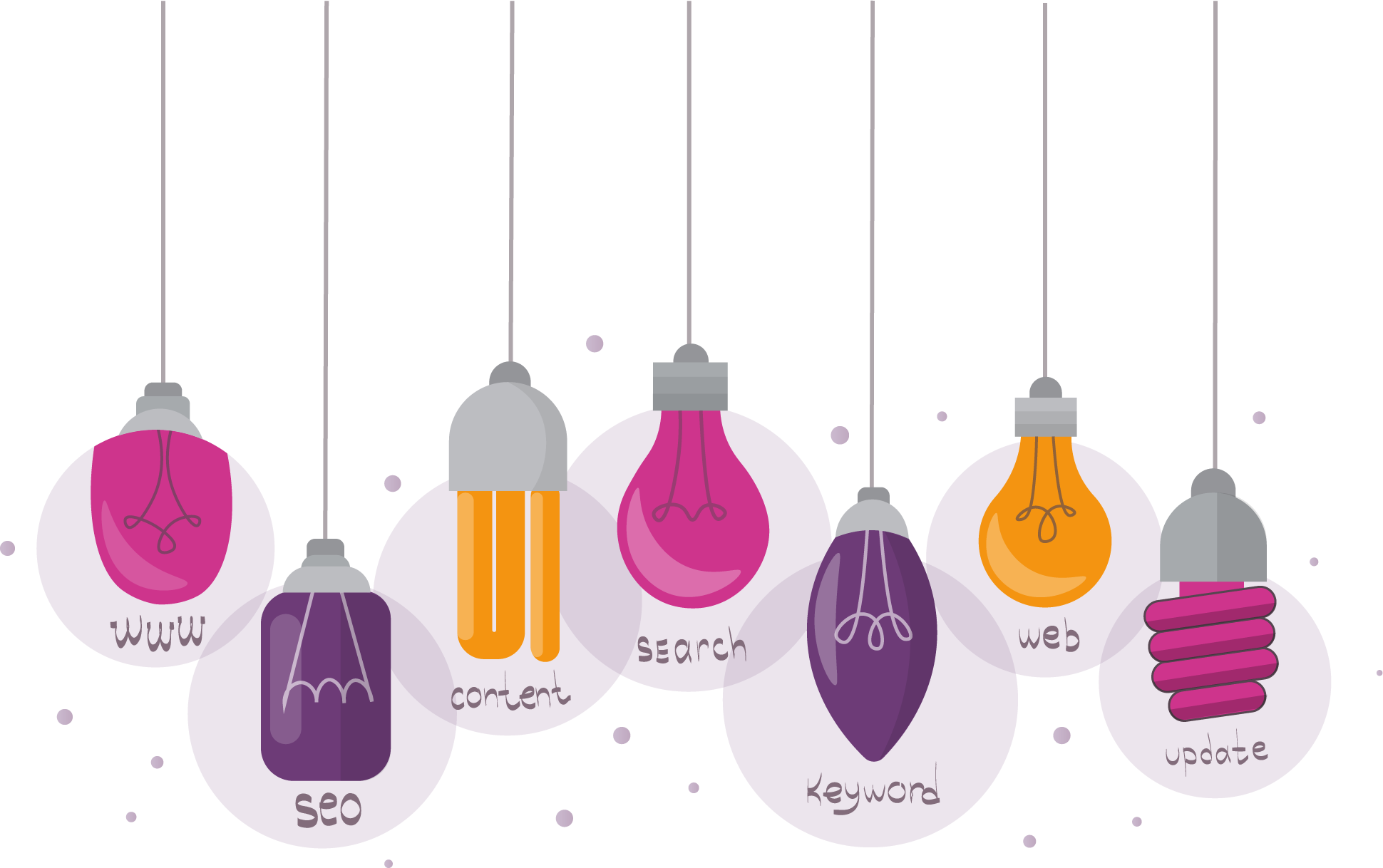Different colored Light Bulbs Representing various aspects of SEO and digital marketing