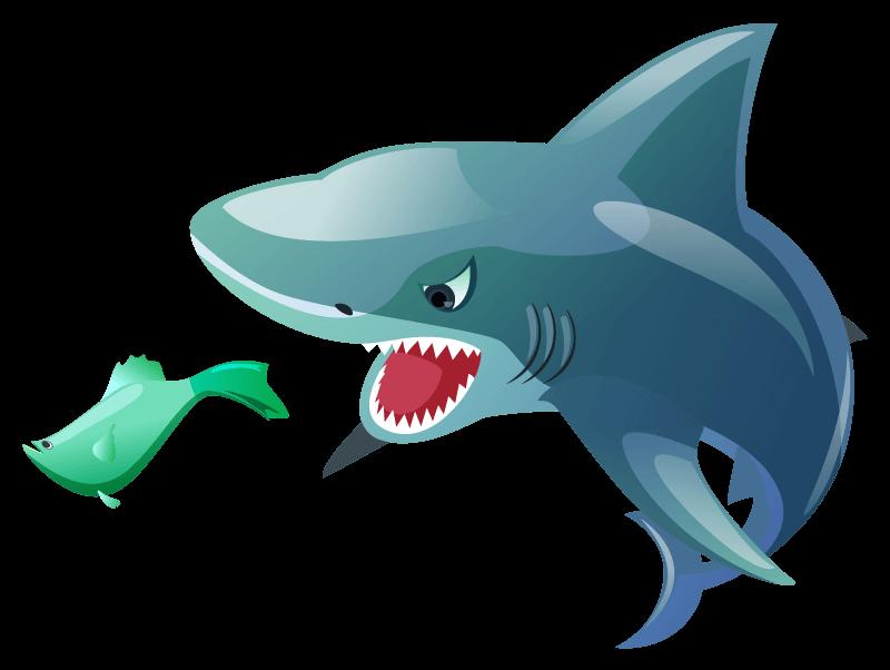Big shark eating little shark